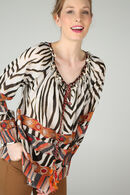 Bloes met zebraprint By Derhy, Ecru