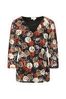 T-shirt met geborduurde cirkels, Roodbruin