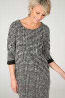 Jurk in warm tricot met lurex, Zwart/Ecru