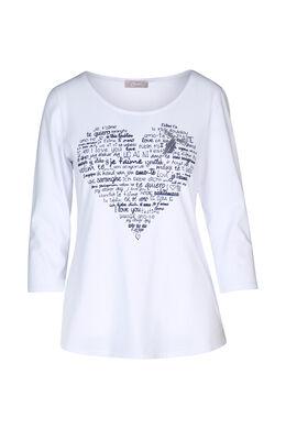 T-shirt imprimé cœur, Blanc