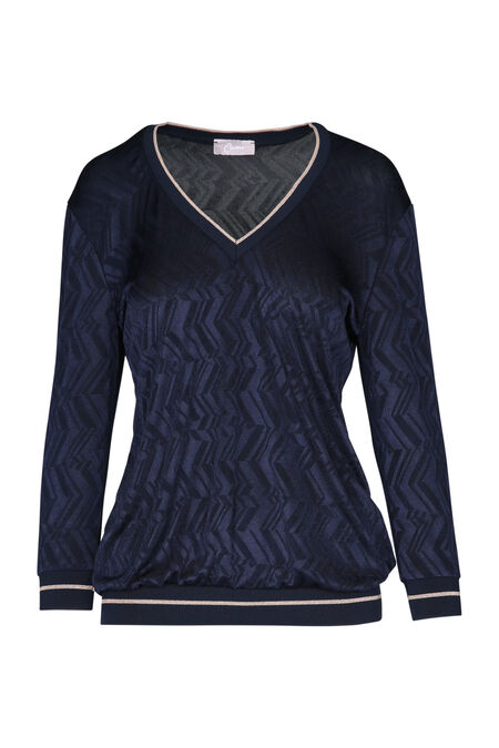 T-shirt met ribboord - Marineblauw