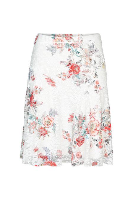 Kanten rok met bloemenprint - Koraal