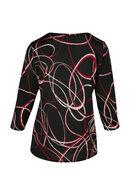 T-shirt met geometrische print en druppels aan de hals, Rood