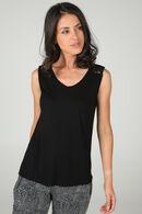 Mouwloos T-shirt met kanten schouders, Zwart