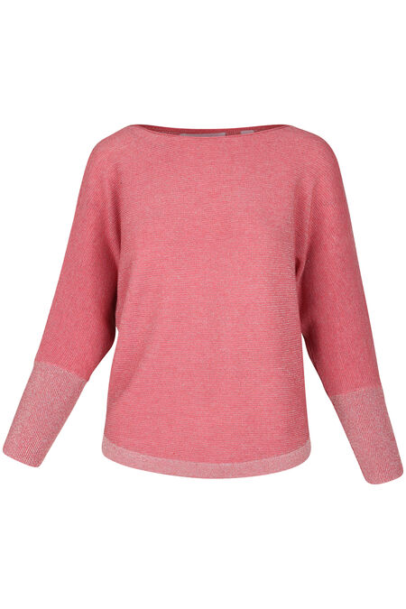Pull maille lurex manches chauve-souris - Rose