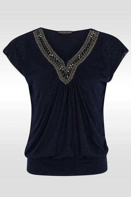 T-shirt manches T, plastron perles - Marine