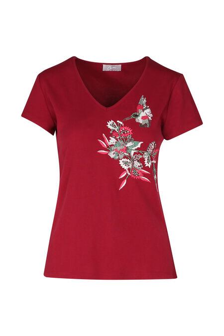 Katoenen T-shirt met borduurwerk - Framboos