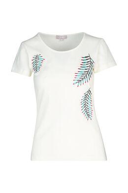 Katoenen T-shirt met geborduurde bladeren, Ecru