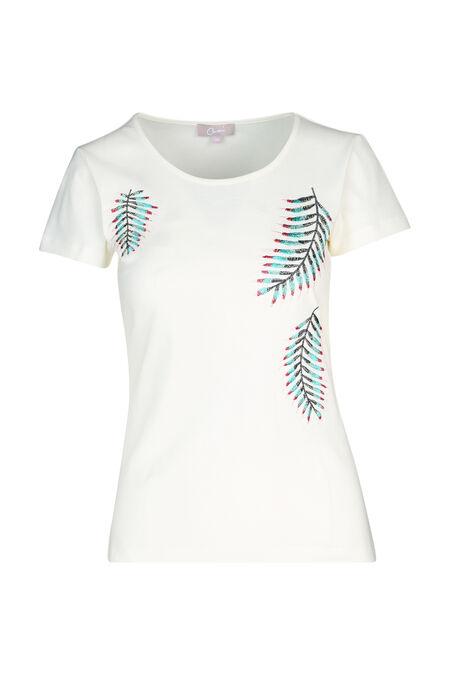 Katoenen T-shirt met geborduurde bladeren - Ecru