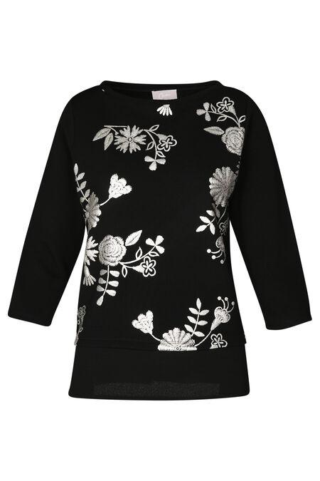 T-shirtsweater met zilverkleurige bloemen - Zwart