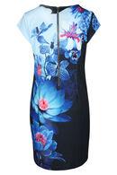 Jurk met bloemenprint, Blauw