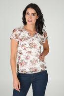 T-shirt in kant met bloemenprint, Pruim