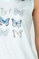 T-shirt dos croisé avec papillons, aqua