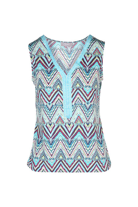 T-shirt avec un col plastron de perles - Turquoise
