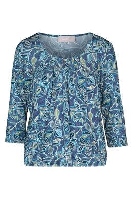 T-shirt met bloemenprint en gomeffect, Turquoise