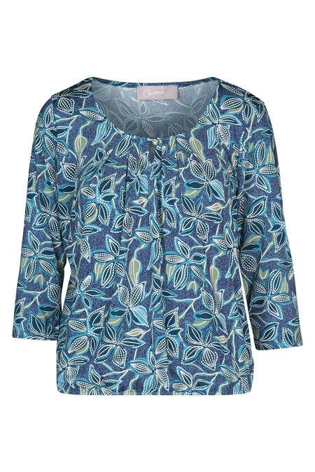 T-shirt imprimé fleuri effet gomme - Turquoise