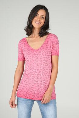 T-shirt met luipaardprint, Fushia