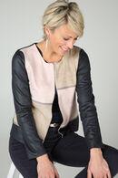 Driekleurig jasje met suèdine-look, Marineblauw