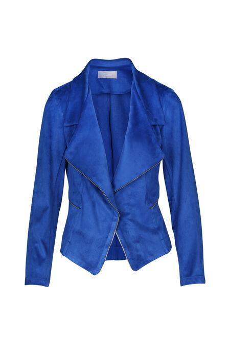 Open jasje met suèdinelook - Koningsblauw