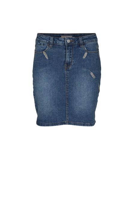Jupe en jeans brodée - Denim