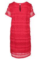 Kanten jurk met franjes, Rood