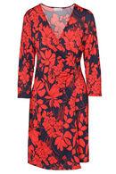 Robe cache-coeur imprimé fleurs, Rouge