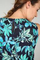 Plisséblouse met bladprint, Turquoise