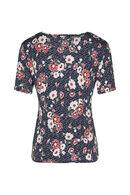 T-shirt imprimé fleuri décolleté croisé, Rouge