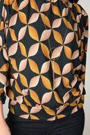 T-shirt met geometrische 60's print, Oker
