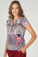 T-shirt met etnische print en ritshals met juweel, Marineblauw
