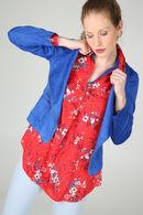 Open jasje met suèdinelook, Koningsblauw