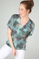 T-shirt in koel tricot met vlindermouwen, Appelblauwzeegroen