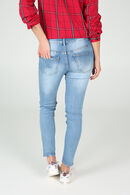 Pantalon slim avec strass, Denim