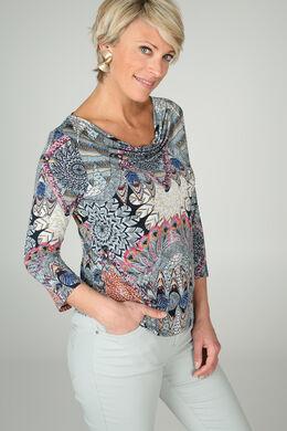 T-shirt met watervalkraag, Appelblauwzeegroen