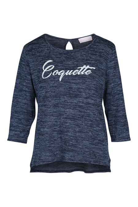 T-shirt in bedrukt tricot - Blauw