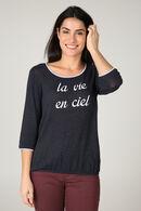 T-shirt in warm tricot 'La vie en rose', Indigo