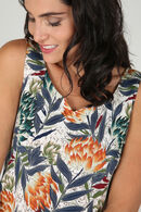 T-shirt in tricot met lotusbloemen, Marineblauw