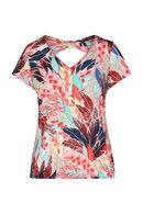 T-shirt in koel tricot met pluimenprint, Multicolor