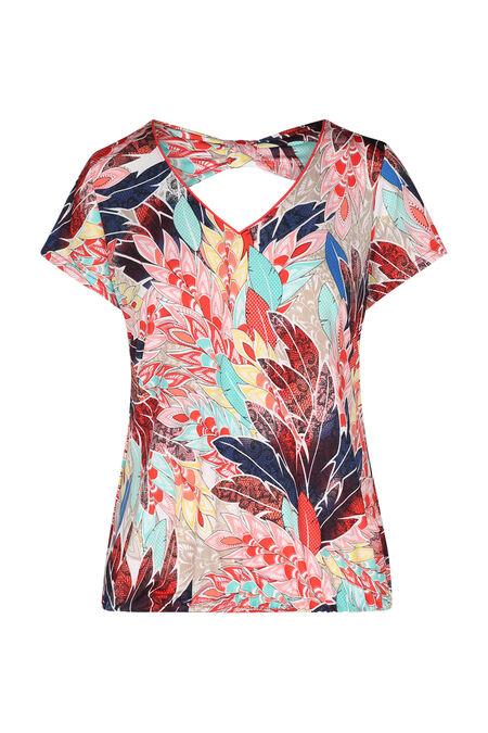 T-shirt maille froide imprimé plumes - multicolor