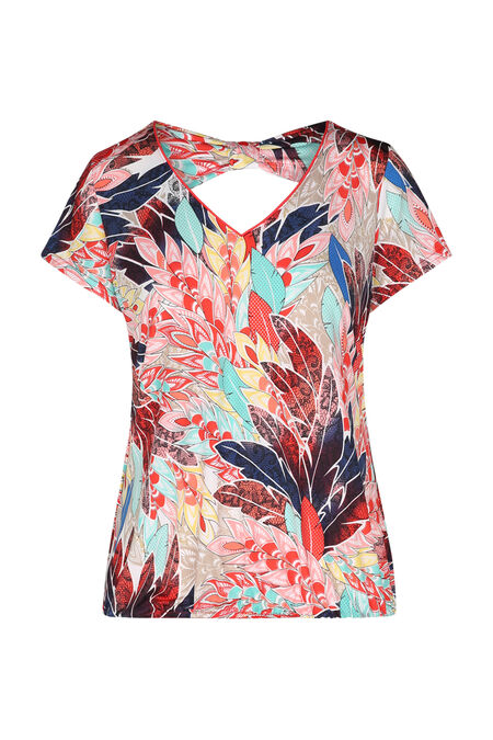 T-shirt in koel tricot met pluimenprint - Multicolor