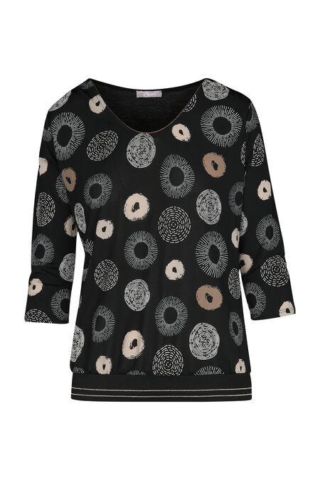 T-shirt met cirkels - Zwart/Taupe