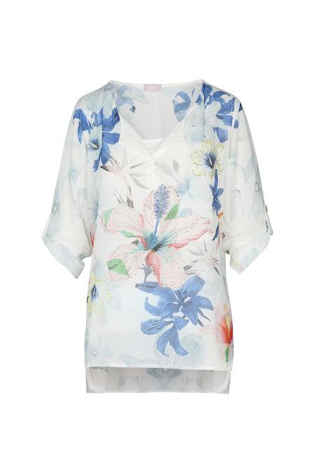 Tunique avec poche imprimé fleur - Bleu