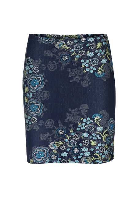 Rok in jacquardtricot met bloemetjes - Marineblauw