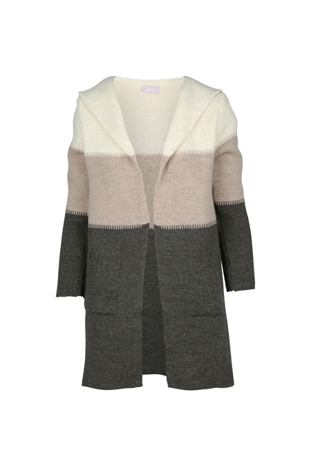 Long cardigan rayé - Sable