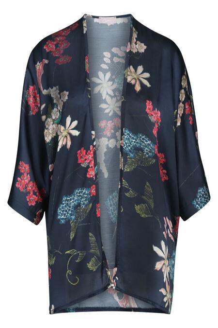 Kimono imprimé fleurs - Marine
