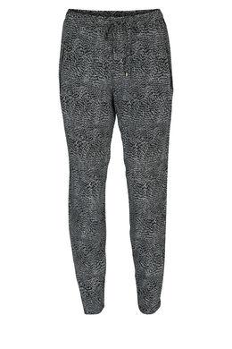 Soepel vallende broek met rijstkorrelprint, Zwart