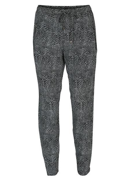 Pantalon fluide imprimé grain de riz - Noir