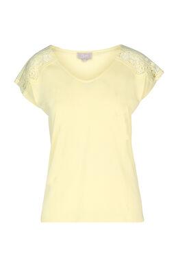 T-shirt avec empiècements en dentelle, Jaune