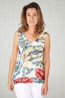 T-shirt imprimé jungle et strass, multicolor