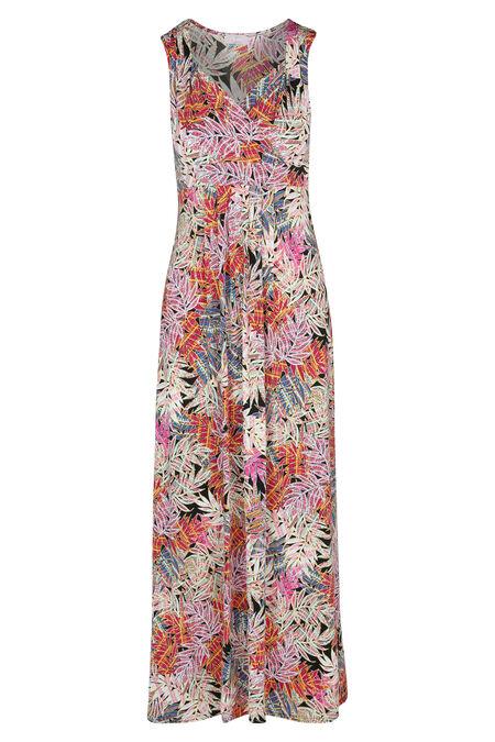 Lange jurk met gomprint van bladeren - Roze